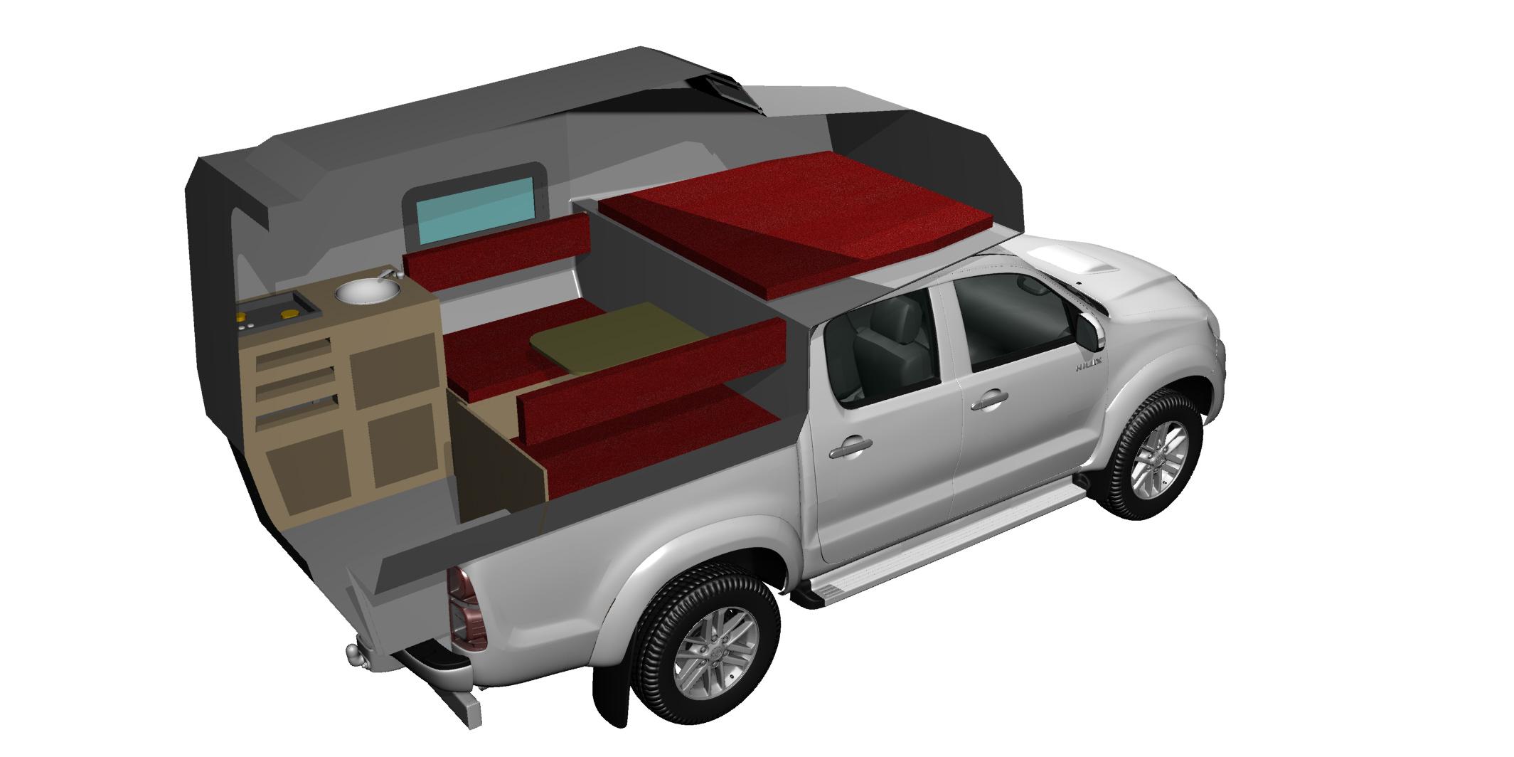 cellule pickup amovible custom camp cellule 4x4. Black Bedroom Furniture Sets. Home Design Ideas